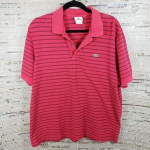 Lacoste Red Striped Polo Size XXL